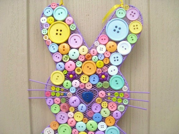 Button Easter Bunny - Easter Decoration - Spring Door Decoration - Baby Decor