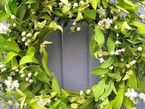 Wedding Wreath - Summer Wreath - Spring Wreath - White Wreath - Green Wreath - Front Door Wreath