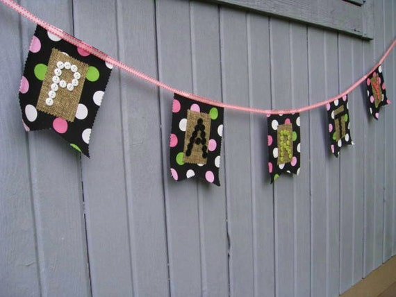 Party Banner - Birthday Party Bunting - Party Garland - Happy Birthday Banner - Fabric Banner Party Decoration - Polka Dots