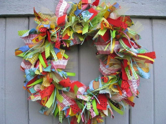Fabric Wreath, Ribbon Wreath, Rag Wreath, Green Blue Red Front Door Wreath, Fruit Salad Fabric and Ribbon Wreath