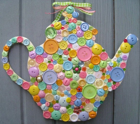 Button Teapot Wall Art Teapot Plaque Front Door Wreath