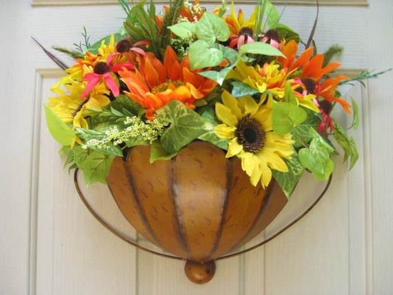 Summer Wreath, Door Wreath, Summer Garden Flowers Door Pocket, Floral Arrangement