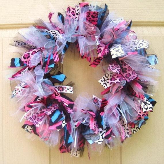 Animal Print Fabric Wreath and Ribbon Wreath, Zebra Stripe Door Wreath, Leopard Print Door Decor in Pink, Blue and Black
