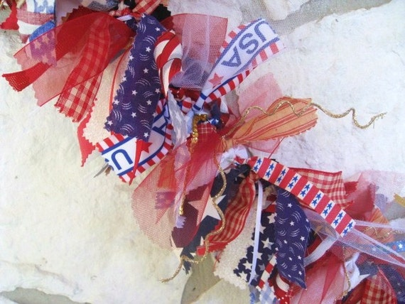 Patriotic Banner, Patriotic Garland, Patriotic Decoration, Americana Fabric Ribbon Garland, Party Banner, July 4th Decor, Red White Blue