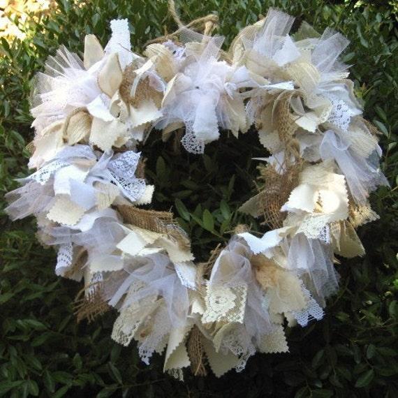 Wedding Decoration, Fabric Wreath, Ribbon Wreath, Cottage Chic, Wedding Decor, White Wreath, Rustic Heart Fabric Ribbon and Burlap Wreath