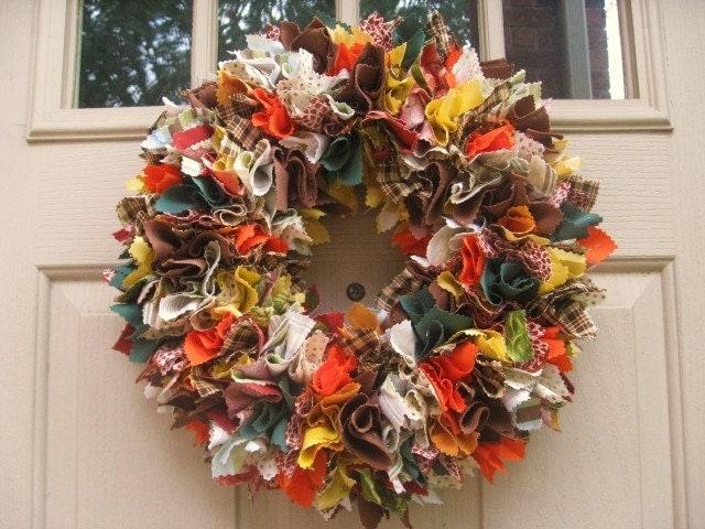 Fall Wreath Autumn Wreath Fabric Wreath Indian Summer Front