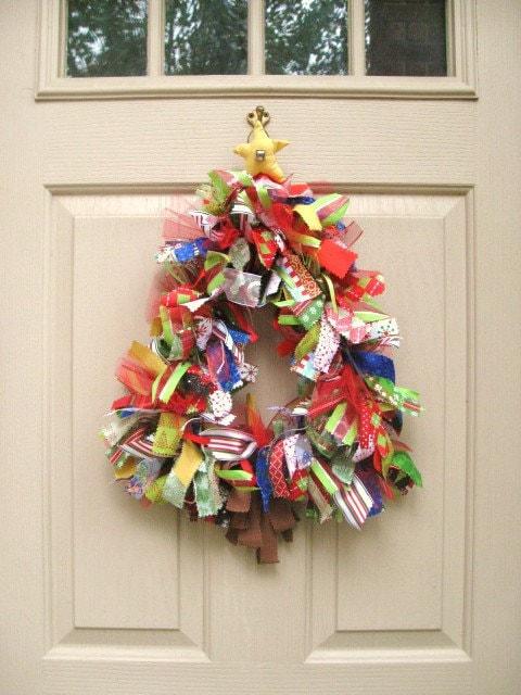 Christmas Wreath Christmas Tree Jingle Bell Ribbon Wreath and