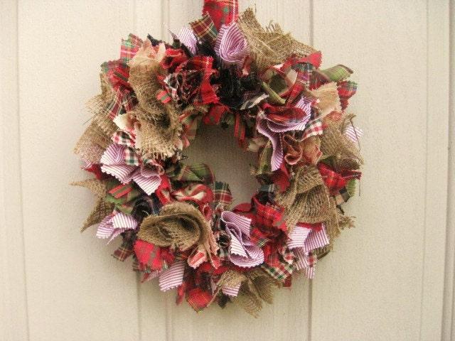 Christmas Wreath Fabric Wreath Rag Wreath Rustic Wreath