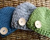 Crocheted Baby Button Hats - Newborn - Set of 3 - Blue / Gray / Green