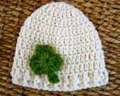 Crocheted Baby Shamrock Hat - Newborn 0-3 Months - Off-White / Kelly Green