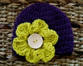 Crocheted Baby Hat 0 - 3 Months - Eggplant With Lime Green Pansy Flower -Ready to ship