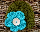 Crocheted Baby Hat 0 - 3 Months - Moss Green With Turquoise Pansy Flower -Ready to ship
