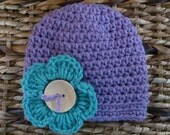 Crocheted Baby Hat 0 - 3 Months - Purple With Large Turquoise Pansy Flower