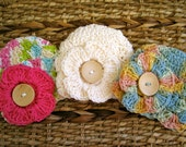 Crocheted 100% Cotton Baby Flower Caps - Newborn - Set of 3 - Spring / Summer Colors - Interchangeable Flowers - Also Sold Separately