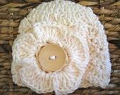 Crocheted 100% Cotton Baby Flower Cap - Newborn -  Off-white