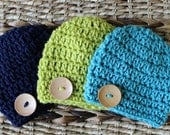 Crocheted Chunky Baby Button Hats - Newborn - Set of 3 -  Nautical Colors