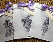 RESERVED for Beatriz Machado - Alice in Wonderland Glassine Favor Bags & Tags - 4 1/2 x 6 3/4