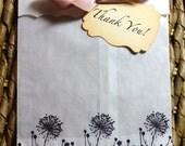 Dandelion Glassine Favor Bags & Tags - 4 1/2 x 6 3/4 - Personalized - SET AS 5 - You choose ribbon color