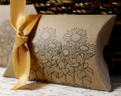 Pillow Boxes  -  Set of 10  - Sunflowers - You choose ribbon color