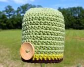 Crocheted Baby Button Hat - Newborn 0-3 Months - Turtle Shell