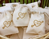 10 Cotton Drawstring Muslin Favor Bags - Heart & Initials - Personalized