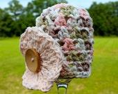 Crocheted 100% COTTON Baby Hat - Newborn - Peach