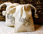 10 Cotton Drawstring Muslin Favor Bags - Baby