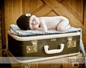 Crocheted Baby Button Hat - Newborn 0-3 Months - Brown