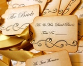 Vintage Inspired Escort Card Tag  -  Scroll - Your Choice of Ribbon Color