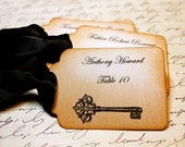 Vintage Inspired Escort Card Tag  -  Vintage Key - Your Choice of Ribbon Color