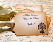 Vintage Inspired Escort Card Tag  -  Finial - Your Choice of Ribbon Color