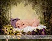 Crocheted Baby Flower Hat - Newborn Girl - Dusty Purple