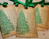 Vintage Inspired Holiday Tags - Twas The Night Before Christmas - Set of 5