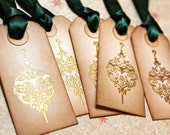 Vintage Inspired Holiday Gift Tags - Ornament - Embossed - Set of 5