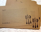 Set of 10 Vintage Inspired Kraft Recipe Cards - Victorian Utensils