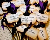 Vintage Inspired Cupcake Topper /  Escort Card Skewer - Personalized - You Choose Ribbon Color