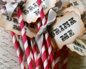 DRINK ME - Pink & White Swizzle Straws and Tags - Set of 12 - You Choose Ribbon Color