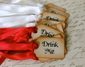 "ITTY BITTY Vintage Inspired ""Drink Me"" Tags - Set of 10 - You Choose Ribbon Color"