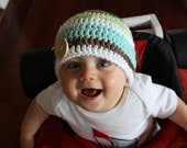Crocheted Cotton Button Hat - NEWBORN - White/Brown/Turquoise/Lime Green