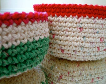 Crocheted Nesting Bowls - Set of Two - Ready to ship