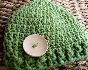 Crocheted Baby Button Hat - Newborn 0-3 Months - Green