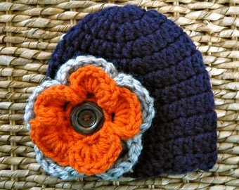Crocheted Baby Hat 0 - 3 Months - Navy Blue With Gray & Pumpkin Double Pansy Flower