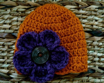 Crocheted Baby Hat 0 - 3 Months - Rust With Eggplant Pansy Flower -Ready to ship