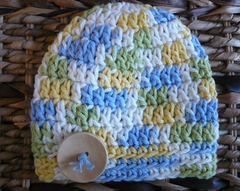 Crocheted Baby Spring/Summer Hat 0 - 3 Months - Cotton - Blue/Green/Yellow  - Ready to ship
