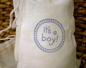 10 Cotton Drawstring Muslin Favor Bags - It's a boy