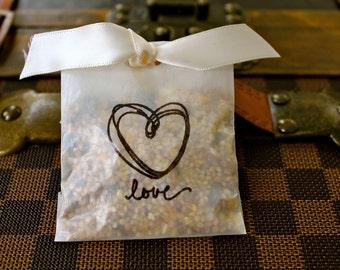 Wedding Bird Seed Send Off Favors - Heart & Love - Set of 10