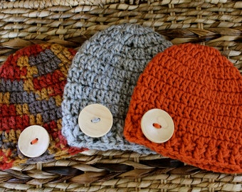 Crocheted Baby Button Hats - Newborn 0-3 Months - Set of 3 - Fall Colors