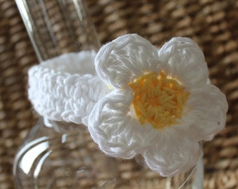 Crocheted Baby Headband Newborn 0-3 Months - 100% Cotton - Daisy