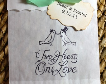 Love Birds Glassine Favor Bags & Tags - 4 1/2 x 6 3/4 - SET OF 5 - Personalized - You choose ribbon color