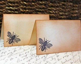 Vintage Inspired Honey Bee Place Cards - Set of 6 - Can be Customized